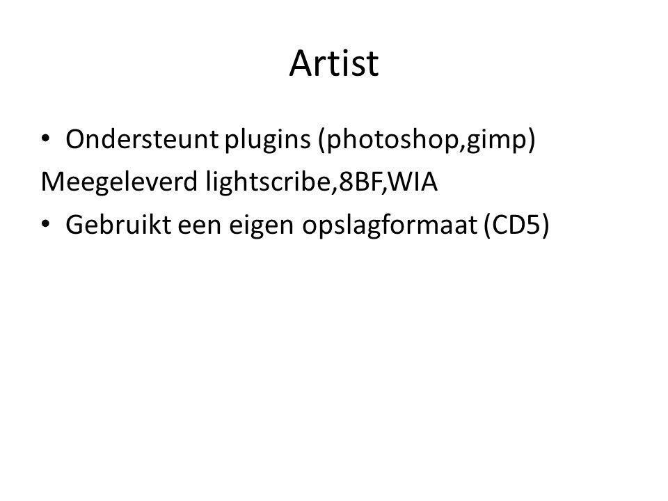 Artist Ondersteunt plugins (photoshop,gimp) Meegeleverd lightscribe,8BF,WIA Gebruikt een eigen opslagformaat (CD5)