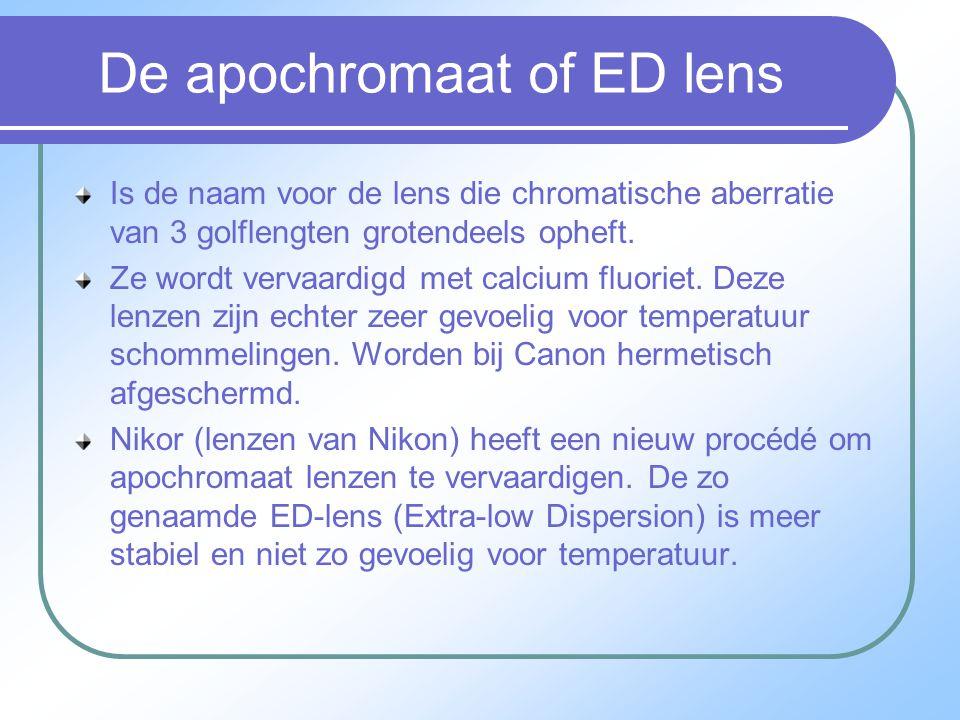 De apochromaat of ED lens Is de naam voor de lens die chromatische aberratie van 3 golflengten grotendeels opheft.