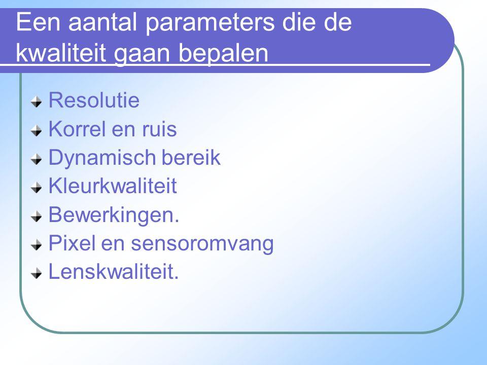Een aantal parameters die de kwaliteit gaan bepalen Resolutie Korrel en ruis Dynamisch bereik Kleurkwaliteit Bewerkingen.
