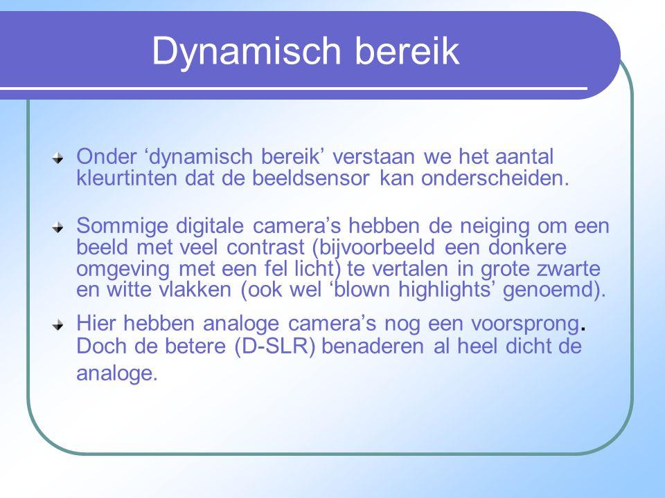 Dynamisch bereik Onder 'dynamisch bereik' verstaan we het aantal kleurtinten dat de beeldsensor kan onderscheiden.