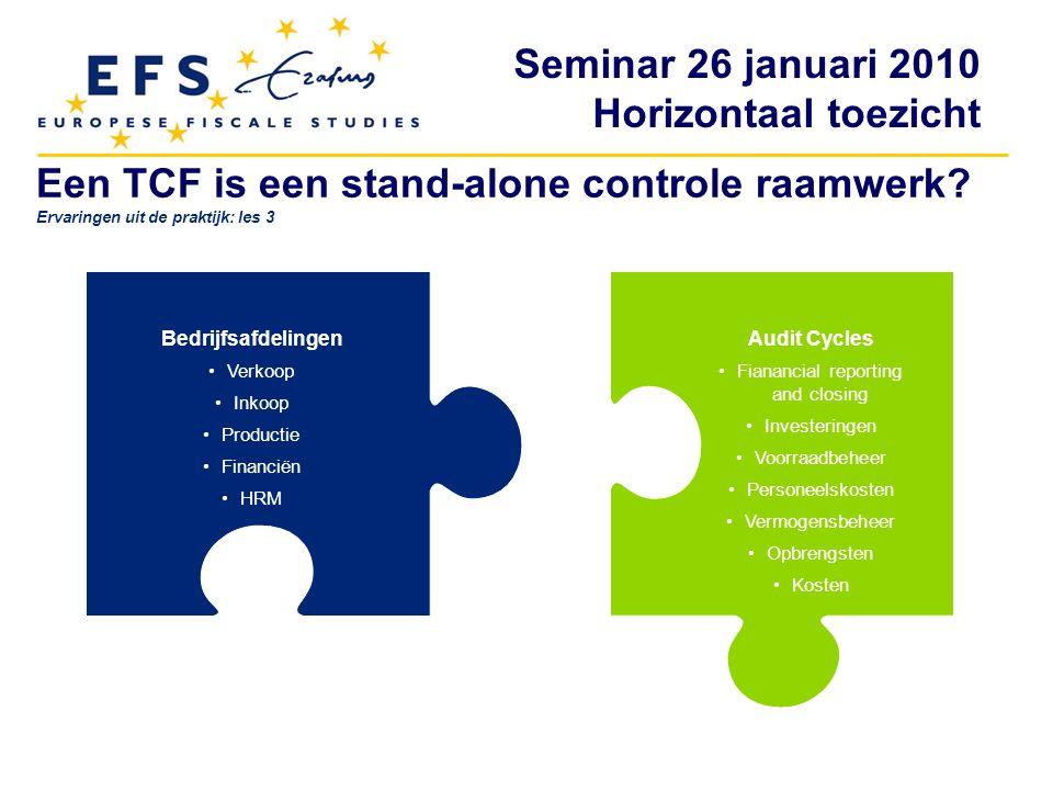 Seminar 26 januari 2010 Horizontaal toezicht Controlemaatregelen zijn vaak al aanwezig Verkoop Inkoop Productie Financiën HRM Investeringen Voorraad beheer Personeels kosten Vermogens beheer Opbrengsten en kosten