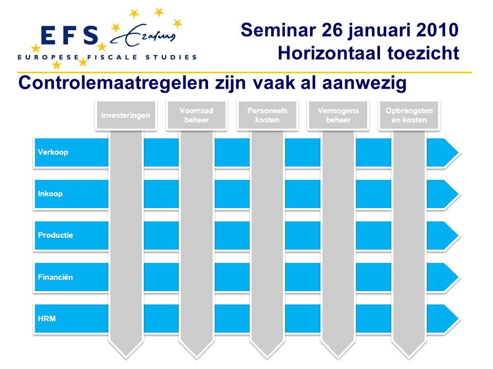 Seminar 26 januari 2010 Horizontaal toezicht Controlemaatregelen zijn vaak al aanwezig Verkoop Inkoop Productie Financiën HRM Investeringen Voorraad b