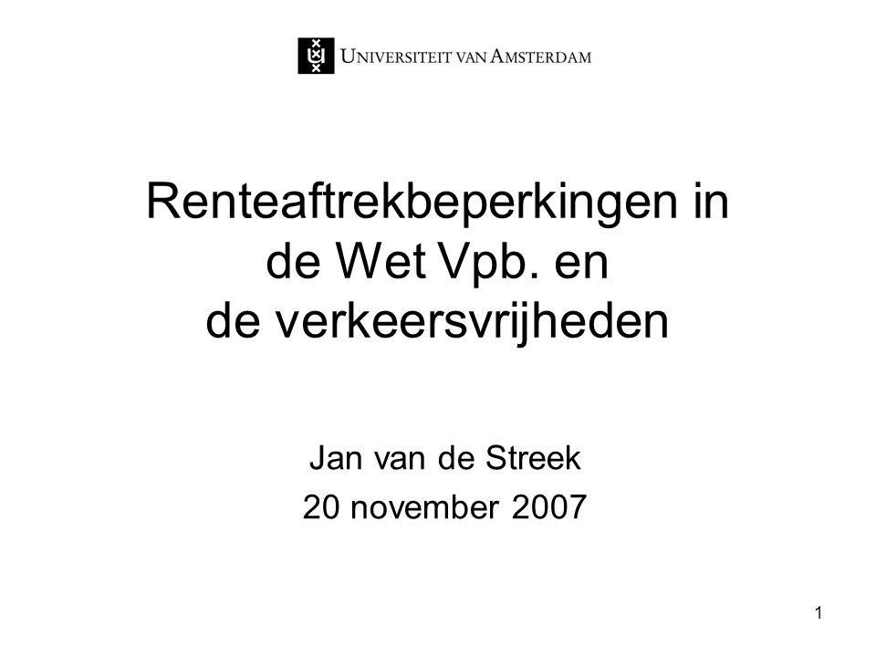 1 Renteaftrekbeperkingen in de Wet Vpb. en de verkeersvrijheden Jan van de Streek 20 november 2007