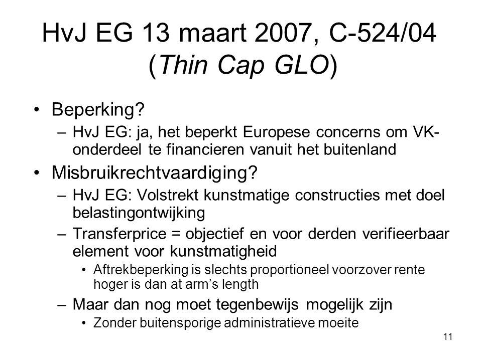 11 Beperking? –HvJ EG: ja, het beperkt Europese concerns om VK- onderdeel te financieren vanuit het buitenland Misbruikrechtvaardiging? –HvJ EG: Volst