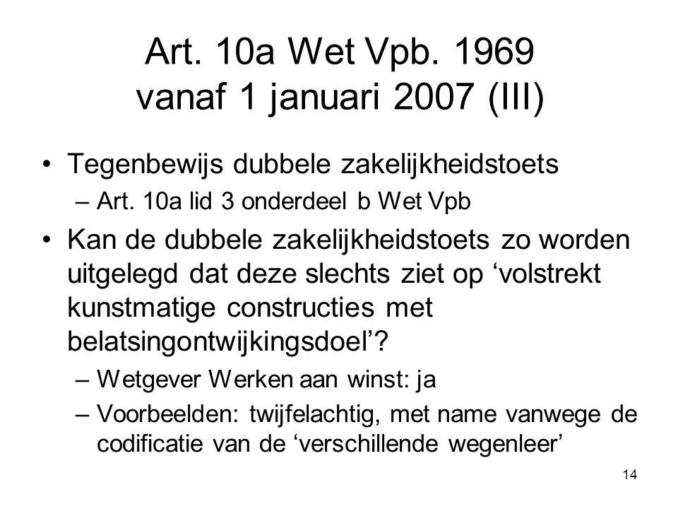 14 Art. 10a Wet Vpb. 1969 vanaf 1 januari 2007 (III) Tegenbewijs dubbele zakelijkheidstoets –Art. 10a lid 3 onderdeel b Wet Vpb Kan de dubbele zakelij