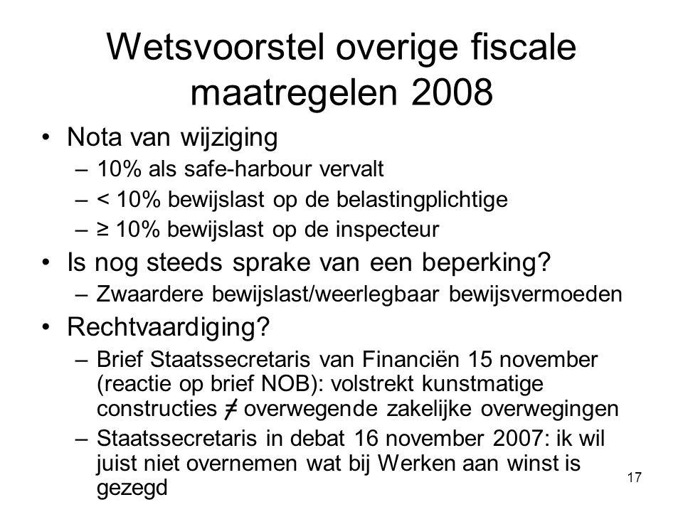 17 Wetsvoorstel overige fiscale maatregelen 2008 Nota van wijziging –10% als safe-harbour vervalt –< 10% bewijslast op de belastingplichtige –≥ 10% bewijslast op de inspecteur Is nog steeds sprake van een beperking.