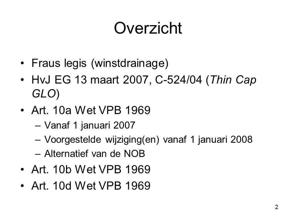 2 Overzicht Fraus legis (winstdrainage) HvJ EG 13 maart 2007, C-524/04 (Thin Cap GLO) Art. 10a Wet VPB 1969 –Vanaf 1 januari 2007 –Voorgestelde wijzig