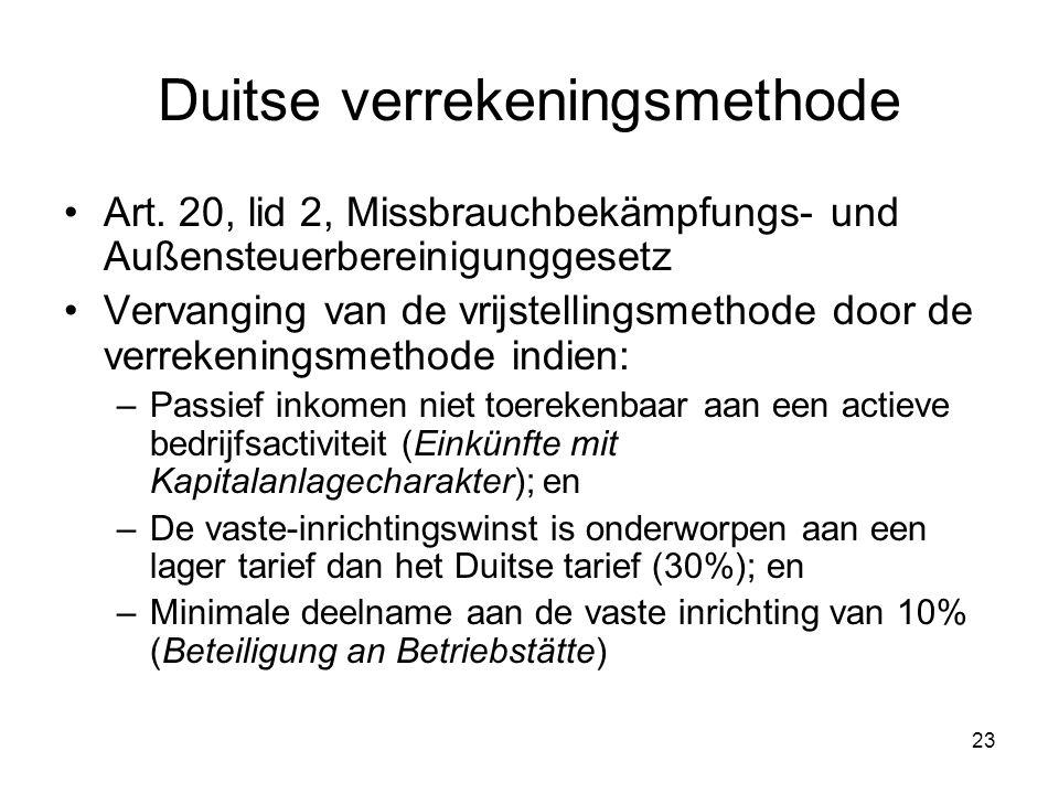 23 Duitse verrekeningsmethode Art. 20, lid 2, Missbrauchbekämpfungs- und Außensteuerbereinigunggesetz Vervanging van de vrijstellingsmethode door de v