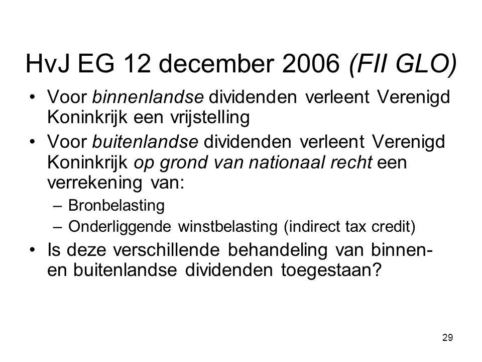 29 HvJ EG 12 december 2006 (FII GLO) Voor binnenlandse dividenden verleent Verenigd Koninkrijk een vrijstelling Voor buitenlandse dividenden verleent