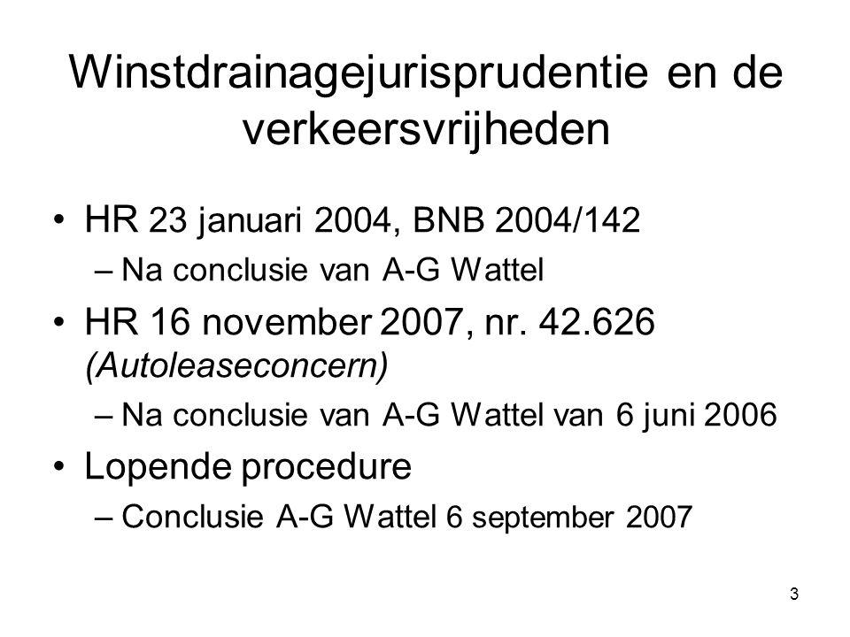 3 Winstdrainagejurisprudentie en de verkeersvrijheden HR 23 januari 2004, BNB 2004/142 –Na conclusie van A-G Wattel HR 16 november 2007, nr. 42.626 (A