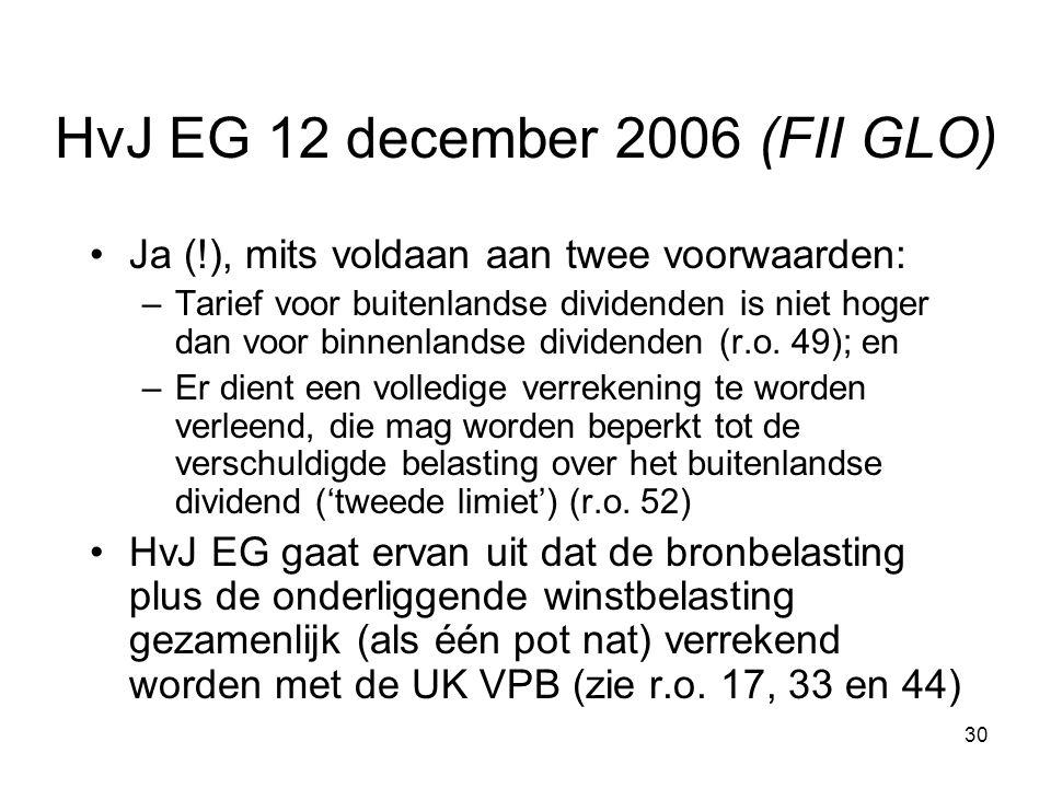 30 HvJ EG 12 december 2006 (FII GLO) Ja (!), mits voldaan aan twee voorwaarden: –Tarief voor buitenlandse dividenden is niet hoger dan voor binnenlandse dividenden (r.o.