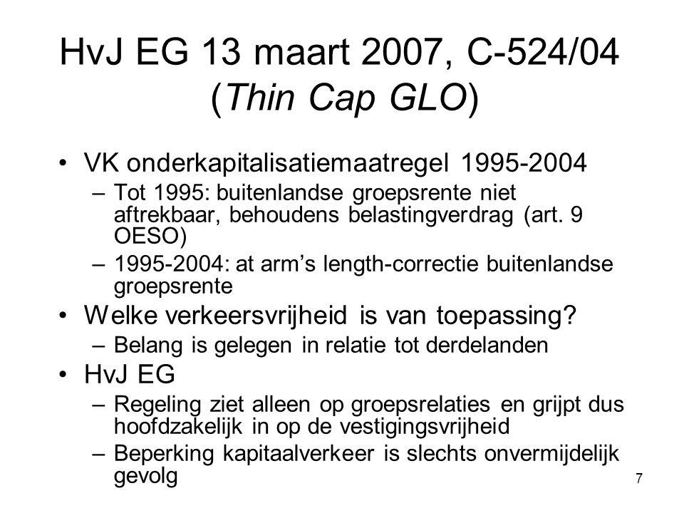 7 HvJ EG 13 maart 2007, C-524/04 (Thin Cap GLO) VK onderkapitalisatiemaatregel 1995-2004 –Tot 1995: buitenlandse groepsrente niet aftrekbaar, behoudens belastingverdrag (art.
