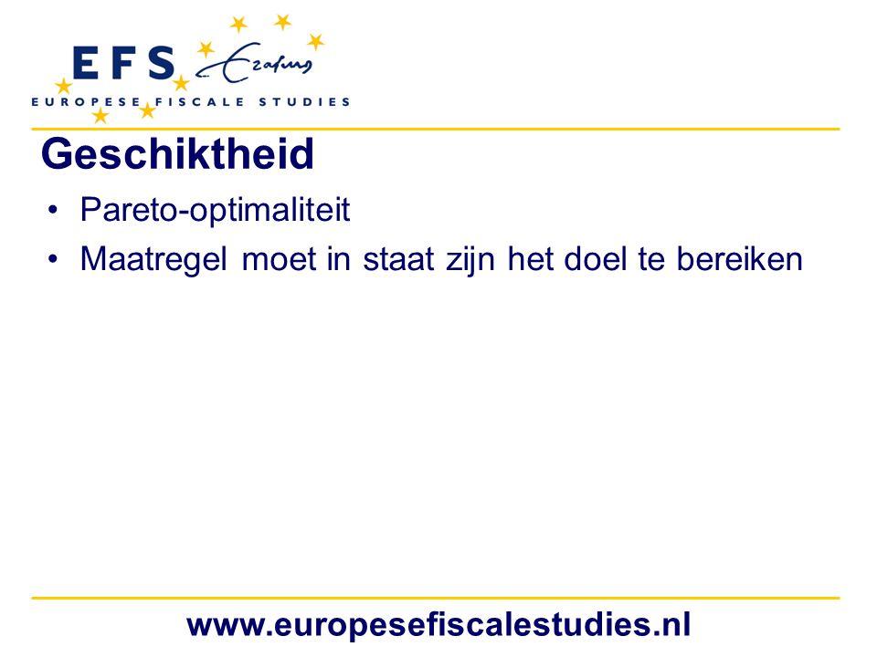 www.europesefiscalestudies.nl Geschiktheid Pareto-optimaliteit Maatregel moet in staat zijn het doel te bereiken