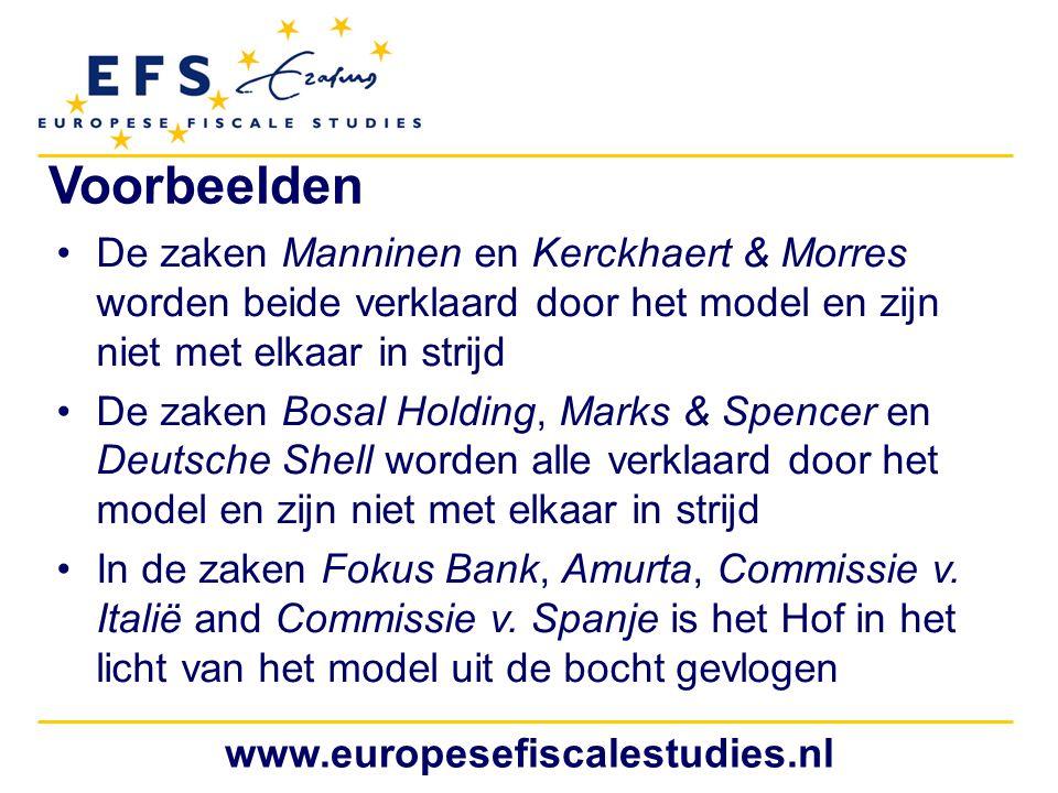 www.europesefiscalestudies.nl Voorbeelden De zaken Manninen en Kerckhaert & Morres worden beide verklaard door het model en zijn niet met elkaar in st