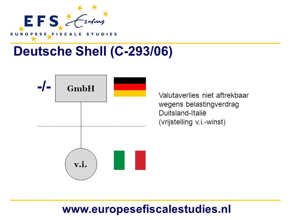 www.europesefiscalestudies.nl GmbH v.i. Valutaverlies niet aftrekbaar wegens belastingverdrag Duitsland-Italië (vrijstelling v.i.-winst) Deutsche Shel