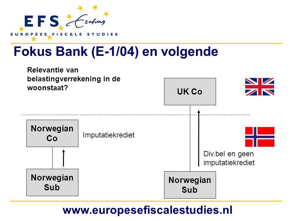 www.europesefiscalestudies.nl Norwegian Co Norwegian Sub UK Co Norwegian Sub Relevantie van belastingverrekening in de woonstaat? Imputatiekrediet Div