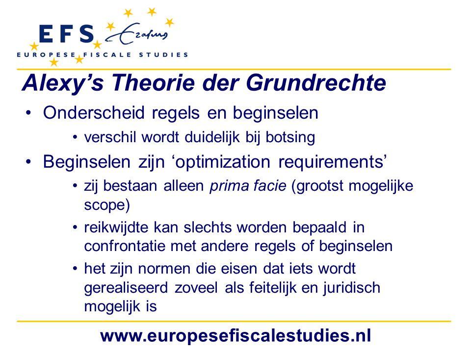 www.europesefiscalestudies.nl Alexy's Theorie der Grundrechte Onderscheid regels en beginselen verschil wordt duidelijk bij botsing Beginselen zijn 'o