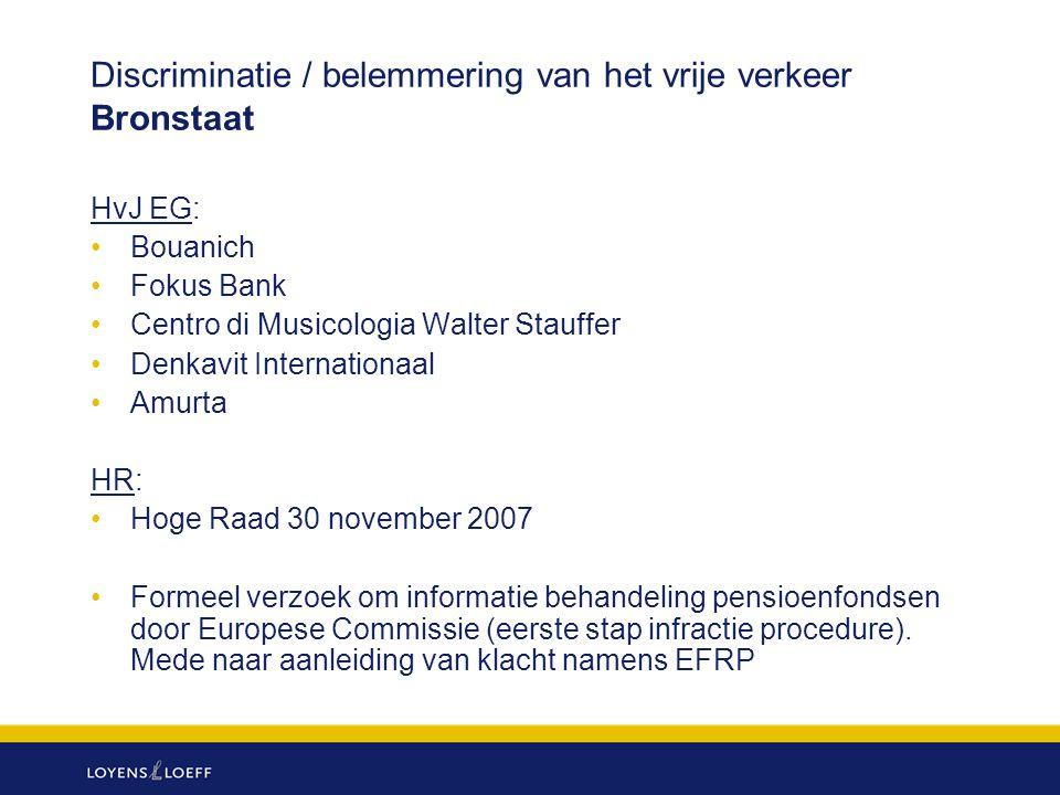 Discriminatie / belemmering van het vrije verkeer Bronstaat HvJ EG: Bouanich Fokus Bank Centro di Musicologia Walter Stauffer Denkavit Internationaal