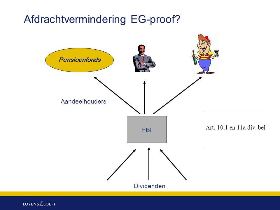 Afdrachtvermindering EG-proof? Pensioenfonds FBI Dividenden Aandeelhouders Art. 10.1 en 11a div. bel