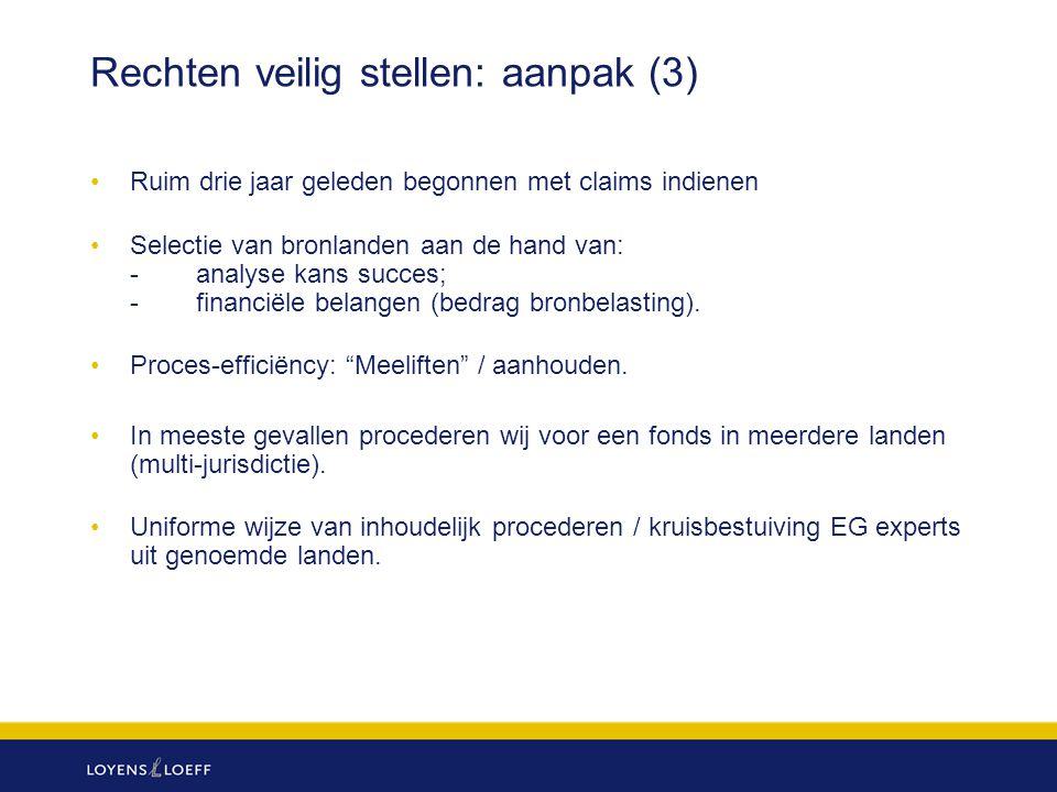 Rechten veilig stellen: aanpak (3) Ruim drie jaar geleden begonnen met claims indienen Selectie van bronlanden aan de hand van: -analyse kans succes;