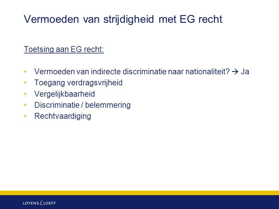 Vermoeden van strijdigheid met EG recht Toetsing aan EG recht: Vermoeden van indirecte discriminatie naar nationaliteit?  Ja Toegang verdragsvrijheid