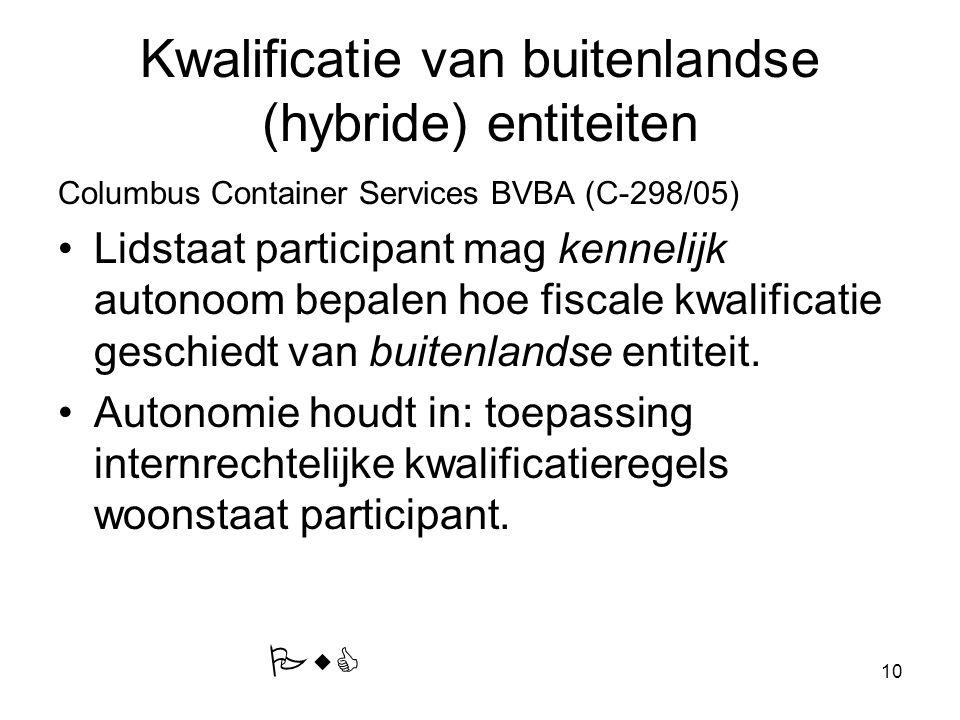 10 Kwalificatie van buitenlandse (hybride) entiteiten Columbus Container Services BVBA (C-298/05) Lidstaat participant mag kennelijk autonoom bepalen hoe fiscale kwalificatie geschiedt van buitenlandse entiteit.