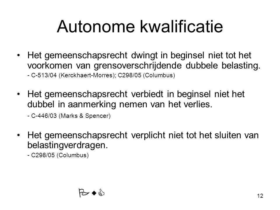 12 Autonome kwalificatie Het gemeenschapsrecht dwingt in beginsel niet tot het voorkomen van grensoverschrijdende dubbele belasting. - C-513/04 (Kerck