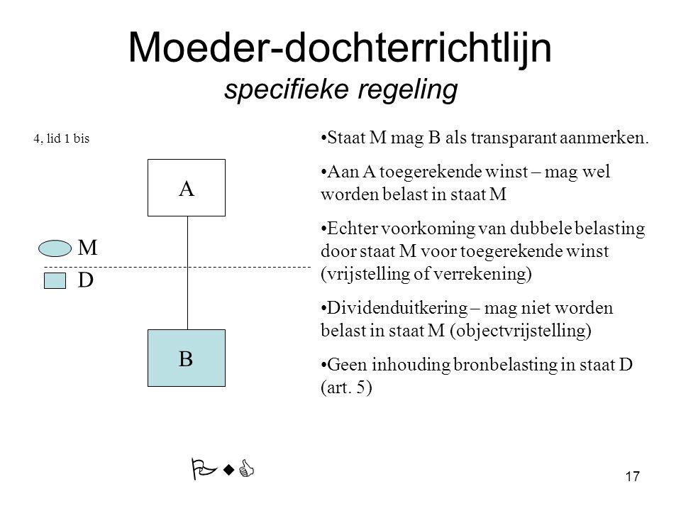17 Moeder-dochterrichtlijn specifieke regeling A B Staat M mag B als transparant aanmerken.