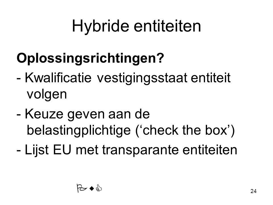 24 Hybride entiteiten Oplossingsrichtingen? - Kwalificatie vestigingsstaat entiteit volgen - Keuze geven aan de belastingplichtige ('check the box') -