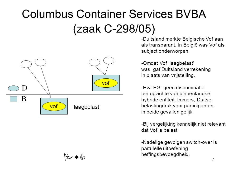 7 Columbus Container Services BVBA (zaak C-298/05) 'laagbelast' vof -Duitsland merkte Belgische Vof aan als transparant. In België was Vof als subject