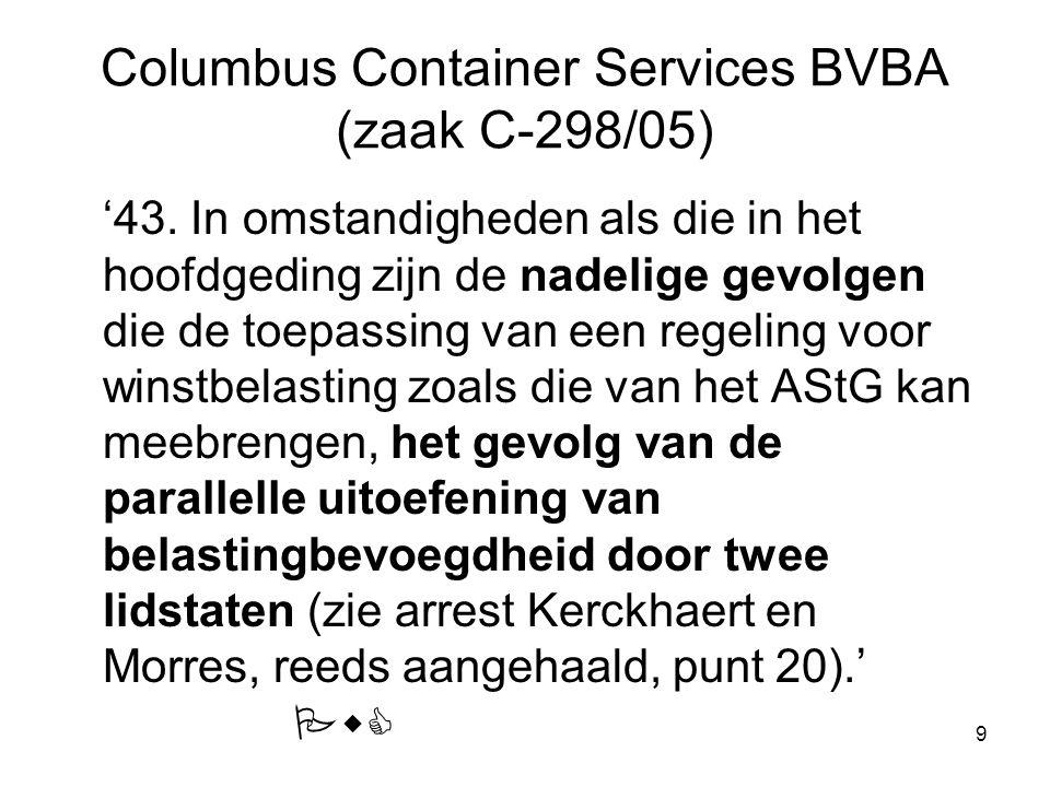 9 Columbus Container Services BVBA (zaak C-298/05) '43. In omstandigheden als die in het hoofdgeding zijn de nadelige gevolgen die de toepassing van e