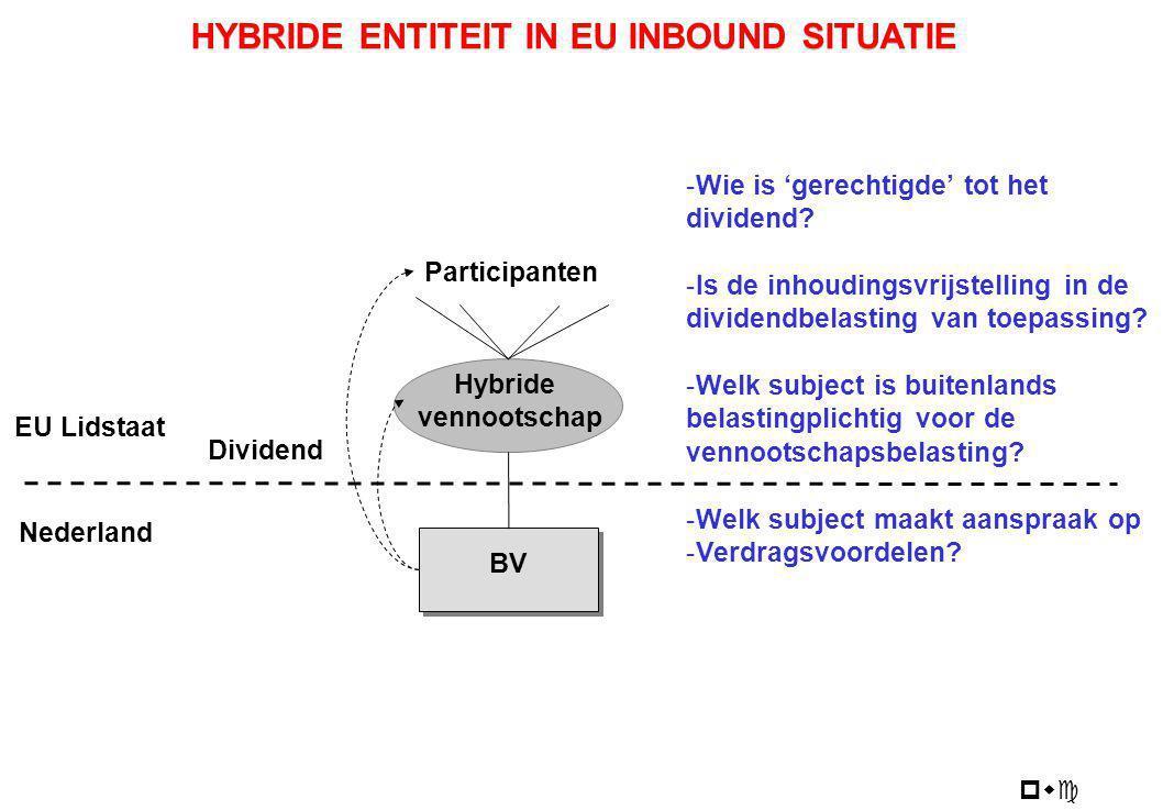 pwc BV Hybride vennootschap Participanten Dividend EU Lidstaat Nederland HYBRIDE ENTITEIT IN EU INBOUND SITUATIE -Wie is 'gerechtigde' tot het dividen