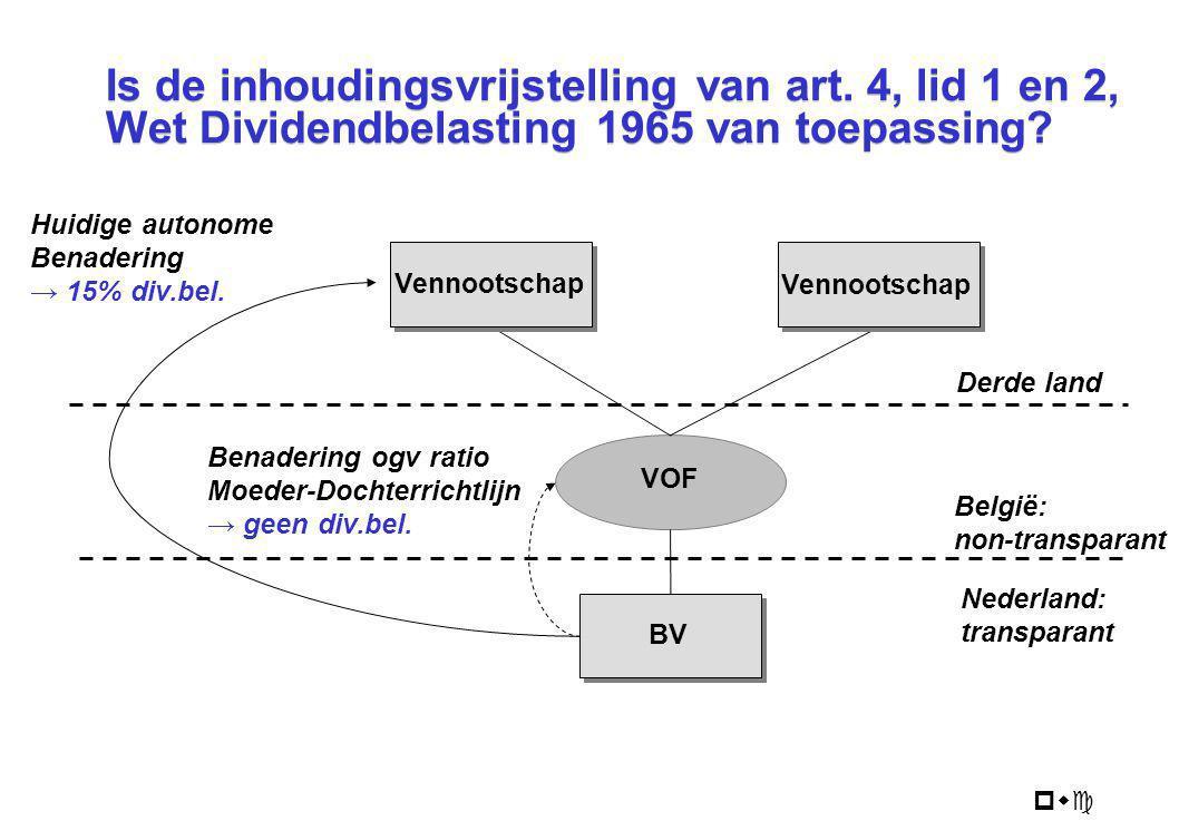 pwc BV Is de inhoudingsvrijstelling van art. 4, lid 1 en 2, Wet Dividendbelasting 1965 van toepassing? VOF Vennootschap België: non-transparant Nederl