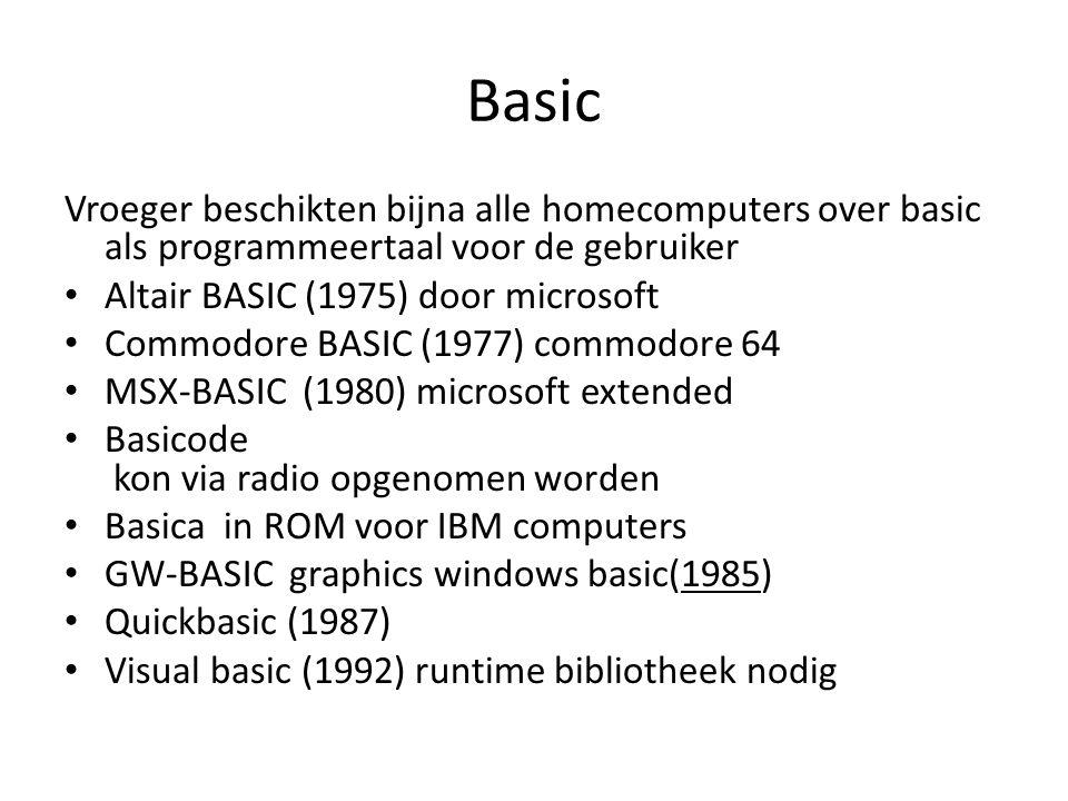 Basic ontstaan Basic is ontstaan in 1963 als een introductietaal voor niet-technische universiteitsstudenten met 14 statements met als doelstelling: dat de taal voor de niet-technici begrijpelijk moest zijn dat de taal er vriendelijk uit moest zien dat in de taal snel resultaten geleverd moesten kunnen worden ten behoeve van huiswerkopdrachten dat toegang tot het systeem van de taal gratis en gemakkelijk moest zijn dat de tijd die het de gebruiker kostte minimaal moest zijn, in plaats van dat de processortijd minimaal moest zijn