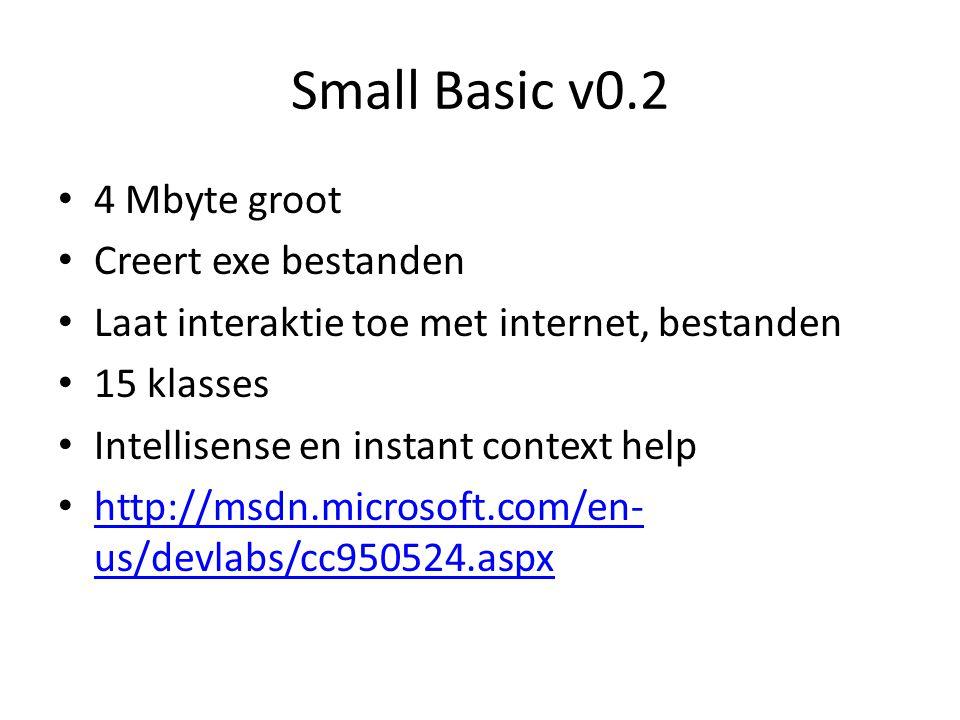 Small Basic v0.2 4 Mbyte groot Creert exe bestanden Laat interaktie toe met internet, bestanden 15 klasses Intellisense en instant context help http:/