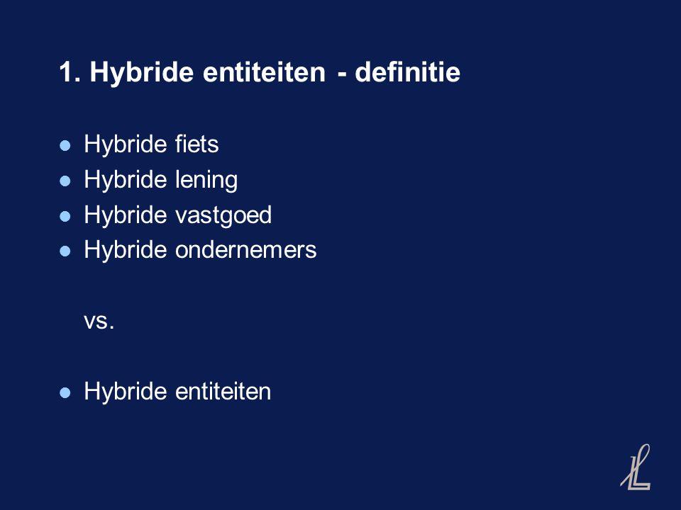 1. Hybride entiteiten - definitie Hybride fiets Hybride lening Hybride vastgoed Hybride ondernemers vs. Hybride entiteiten