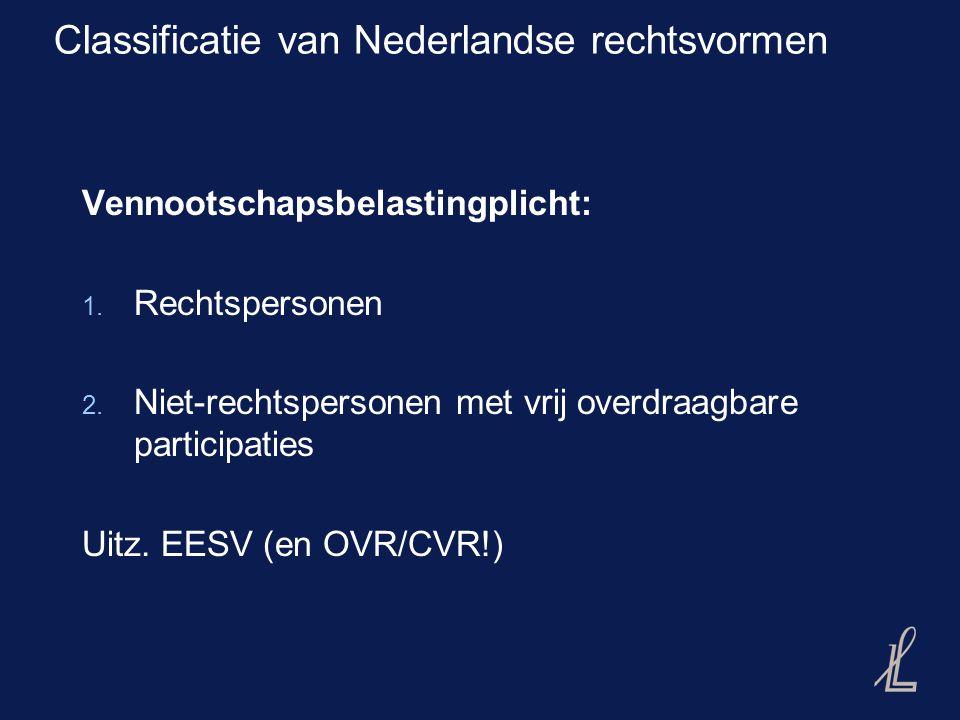 Classificatie van Nederlandse rechtsvormen Vennootschapsbelastingplicht: 1.