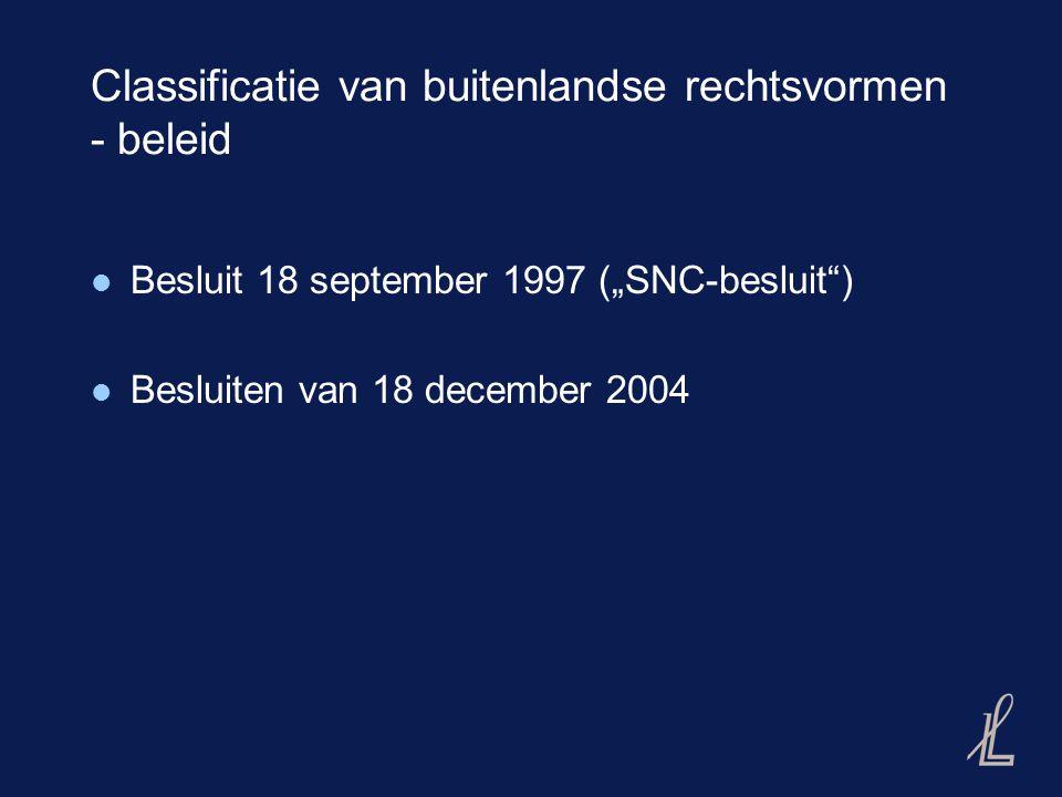 Besluiten 18 december 2004 Criteria: A.Juridische eigendom bij swv B.
