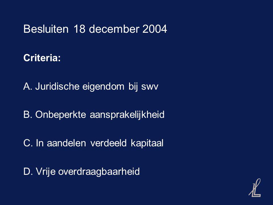 "Besluiten 18 december 2004, vervolg (1) Toetsingskader SWV-en algemeen: (A): ja en (B): nee, dan SWV= niet-transparant (A): ja/nee en (B): ja, dan (C) en (D) beoordelen: -(C) en (D): ja, dan SWV= niet-transparant -(C) of (D): nee, dan SWV=transparant Toetsingskader ""CV-achtigen : Alleen (D) van belang"