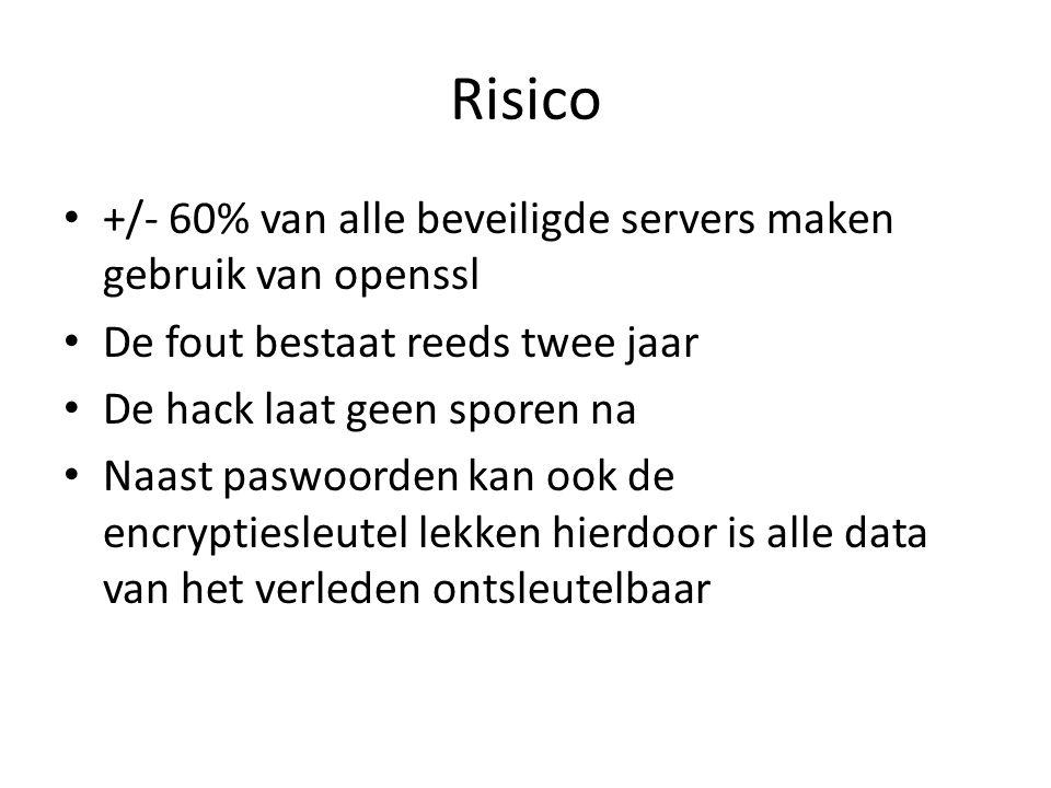 Risico +/- 60% van alle beveiligde servers maken gebruik van openssl De fout bestaat reeds twee jaar De hack laat geen sporen na Naast paswoorden kan ook de encryptiesleutel lekken hierdoor is alle data van het verleden ontsleutelbaar