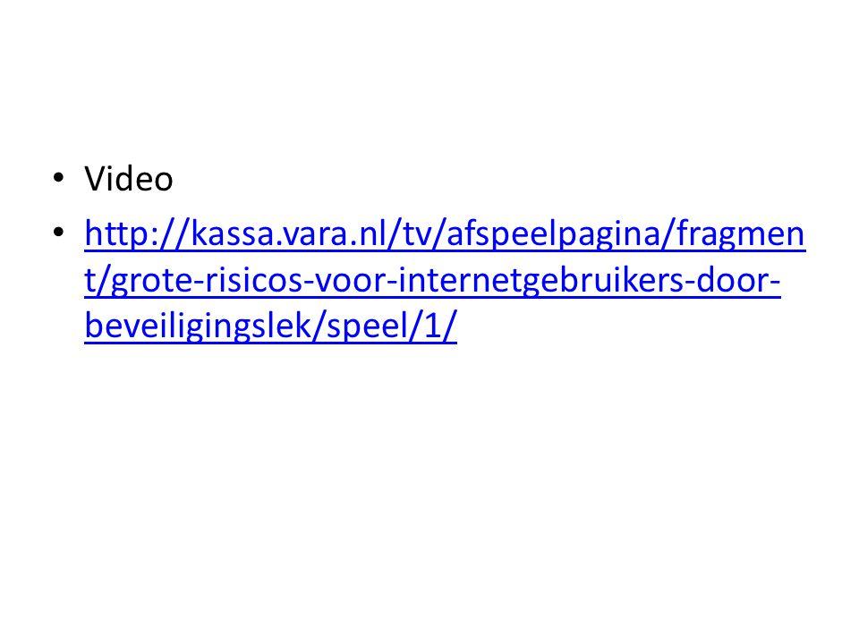 Video http://kassa.vara.nl/tv/afspeelpagina/fragmen t/grote-risicos-voor-internetgebruikers-door- beveiligingslek/speel/1/ http://kassa.vara.nl/tv/afspeelpagina/fragmen t/grote-risicos-voor-internetgebruikers-door- beveiligingslek/speel/1/