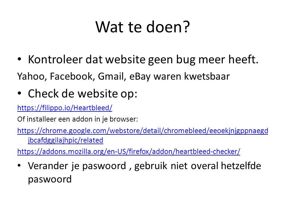 Wat te doen. Kontroleer dat website geen bug meer heeft.