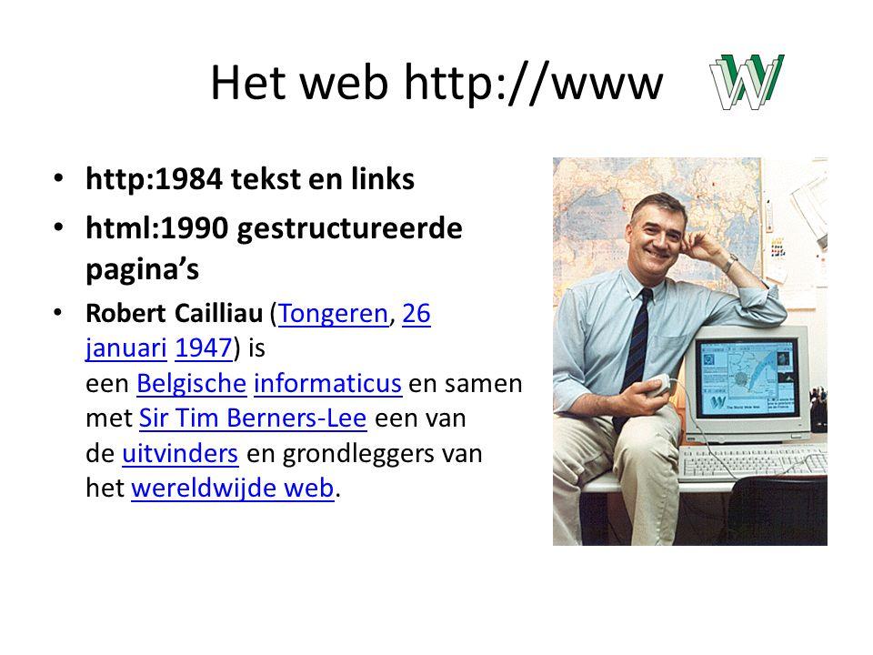 Het web http://www http:1984 tekst en links html:1990 gestructureerde pagina's Robert Cailliau (Tongeren, 26 januari 1947) is een Belgische informaticus en samen met Sir Tim Berners-Lee een van de uitvinders en grondleggers van het wereldwijde web.Tongeren26 januari1947BelgischeinformaticusSir Tim Berners-Leeuitvinderswereldwijde web