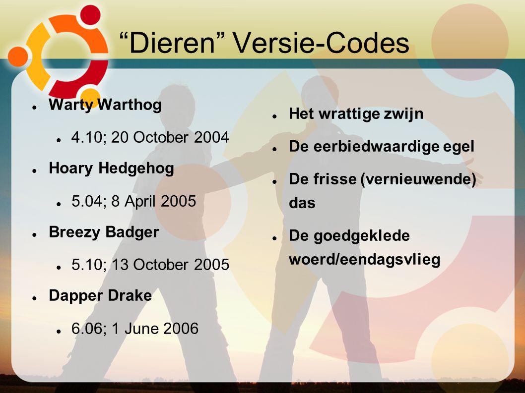 """""""Dieren"""" Versie-Codes Warty Warthog 4.10; 20 October 2004 Hoary Hedgehog 5.04; 8 April 2005 Breezy Badger 5.10; 13 October 2005 Dapper Drake 6.06; 1 J"""