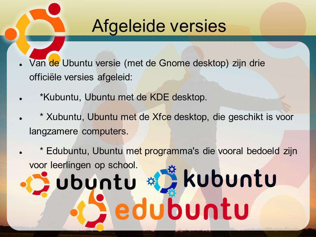 Afgeleide versies Van de Ubuntu versie (met de Gnome desktop) zijn drie officiële versies afgeleid: *Kubuntu, Ubuntu met de KDE desktop. * Xubuntu, Ub