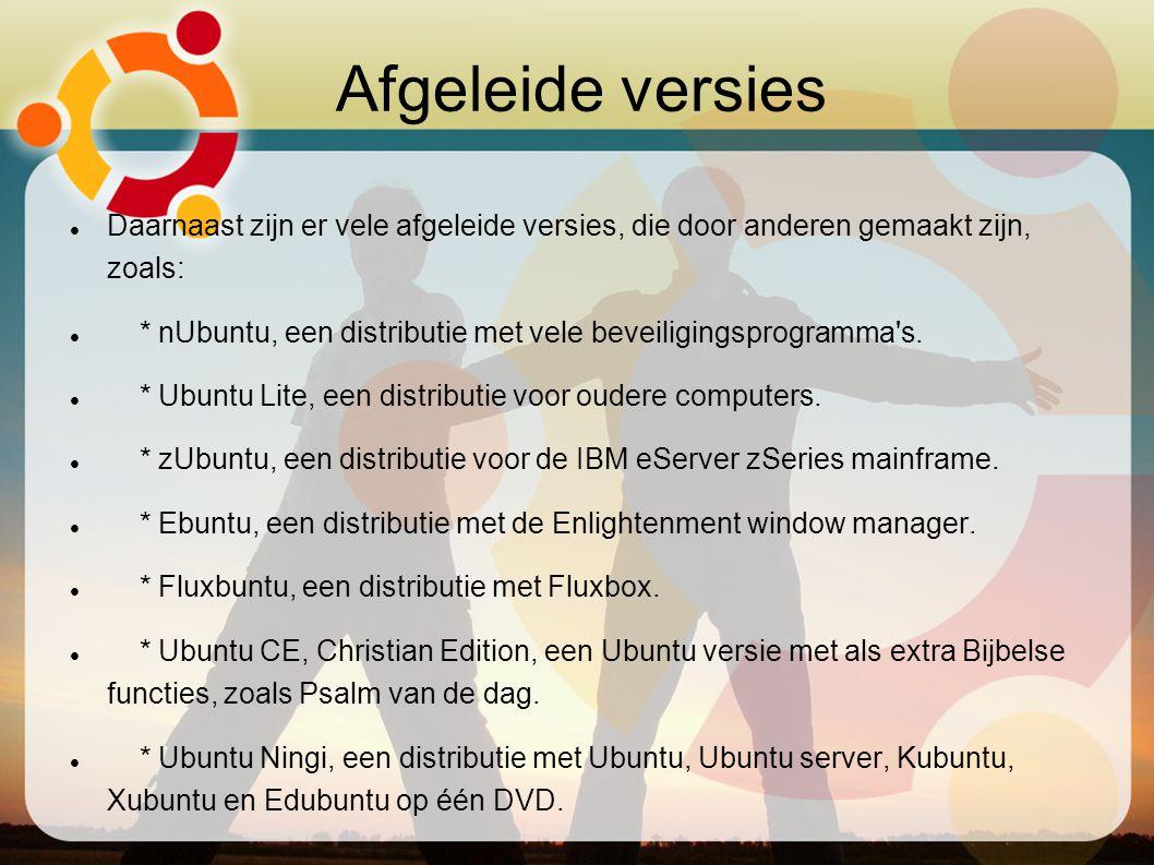 Afgeleide versies Daarnaast zijn er vele afgeleide versies, die door anderen gemaakt zijn, zoals: * nUbuntu, een distributie met vele beveiligingsprog