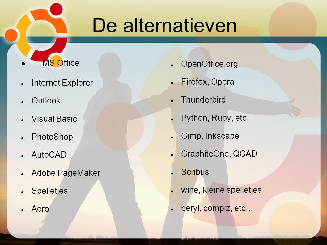 De alternatieven MS Office Internet Explorer Outlook Visual Basic PhotoShop AutoCAD Adobe PageMaker Spelletjes Aero OpenOffice.org Firefox, Opera Thun