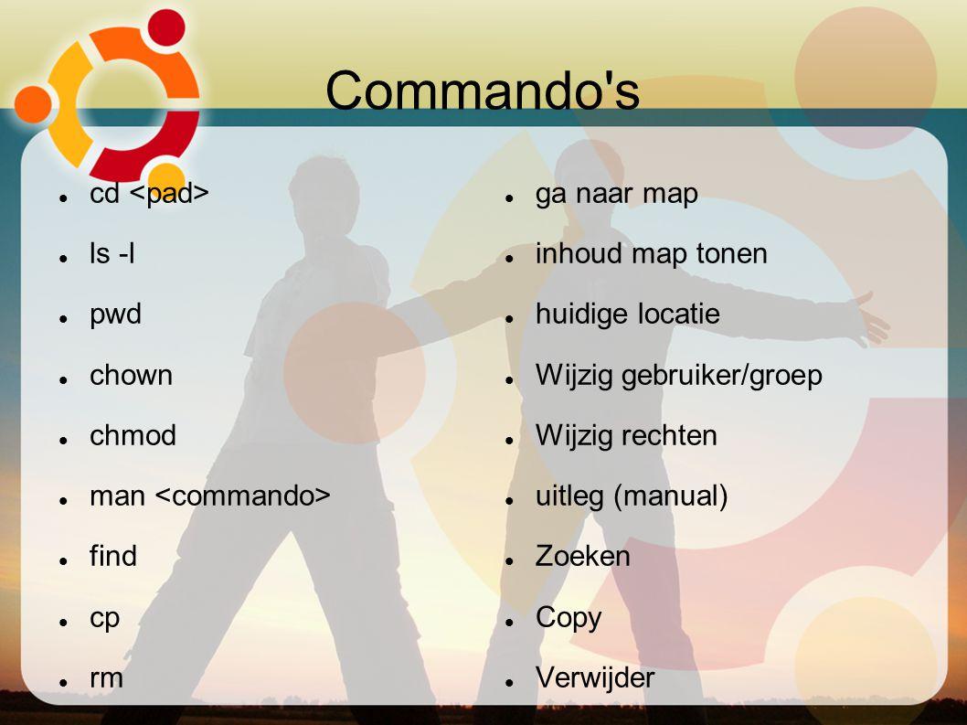 Commando's cd ls -l pwd chown chmod man find cp rm ga naar map inhoud map tonen huidige locatie Wijzig gebruiker/groep Wijzig rechten uitleg (manual)