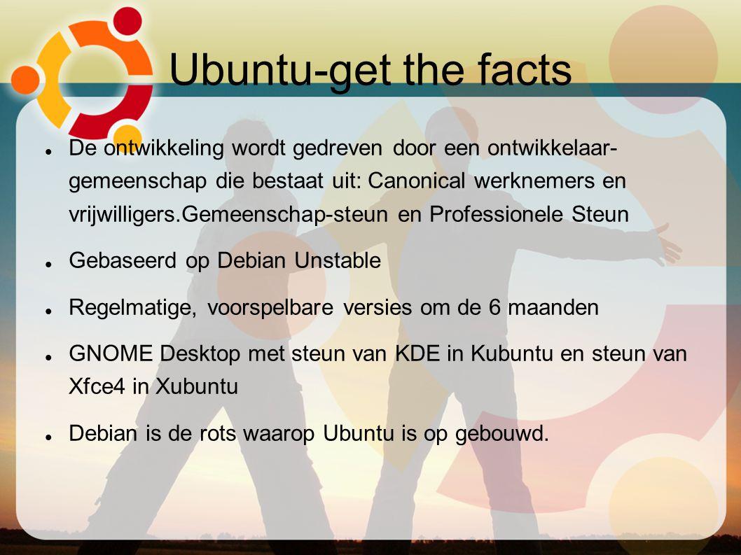 Ubuntu-get the facts De ontwikkeling wordt gedreven door een ontwikkelaar- gemeenschap die bestaat uit: Canonical werknemers en vrijwilligers.Gemeensc