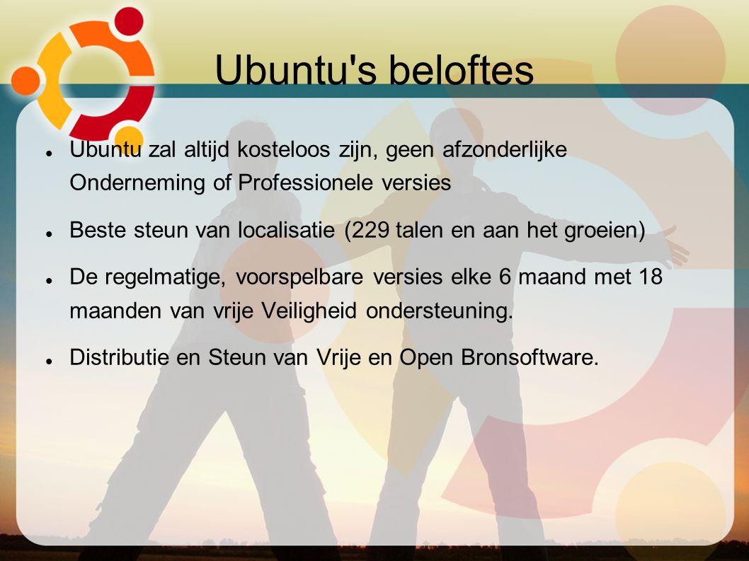 Ubuntu's beloftes Ubuntu zal altijd kosteloos zijn, geen afzonderlijke Onderneming of Professionele versies Beste steun van localisatie (229 talen en